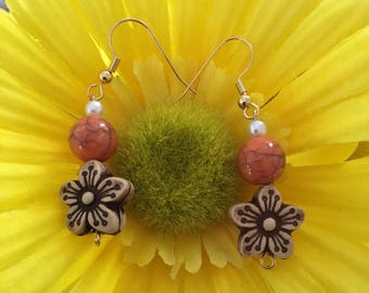 Handmade Flower With Orange Bead Earrings