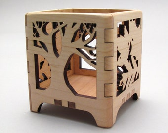 Votive Candle Holder Tree of Life in Maple - Modern Rustic Design - Sustainable Harvest Wisconsin Wood . Timber Green Woods