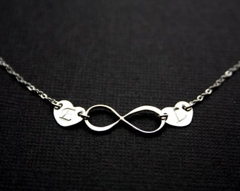 Personal Infinity with Two Initial Hearts Necklace - Sterling Silver, Customized Letter, Cute Couple love, Special gift for someone you love