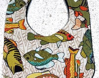 Fish Baby Bib  - infant - dribble bib - fishing - country baby - farm life - baby shower gift