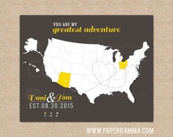 USA Travels Map, Personalized Wedding Map, Newlywed Gift, Push Pin Travel Map, Wedding Gift // Choose Art Print or Canvas // H-I16-1PS HH8