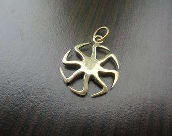 Kolovrat pendant, kolovrat Swarog, kolovrat amulet sun wheel pendant, small kolovrat necklace, pagan necklace, neopagan sun wheel necklace
