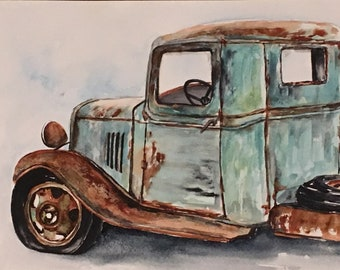 Old ford truck original watercolor old classic car painting