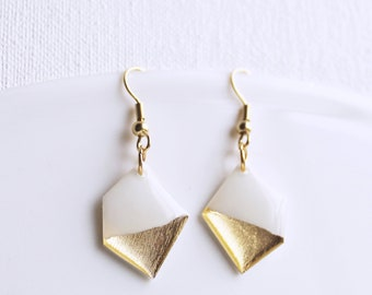 white and gold dipped earrings minimal dangle earrings lightweight geometric earrings simple earrings bold earrings contemporary jewelry
