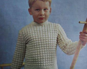 Sweater Knitting Pattern Children Five Sizes 24 - 32 Inches Bainin Wool Mahonys of Blarney 623 Boy Girl Vintage Paper Original NOT a PDF
