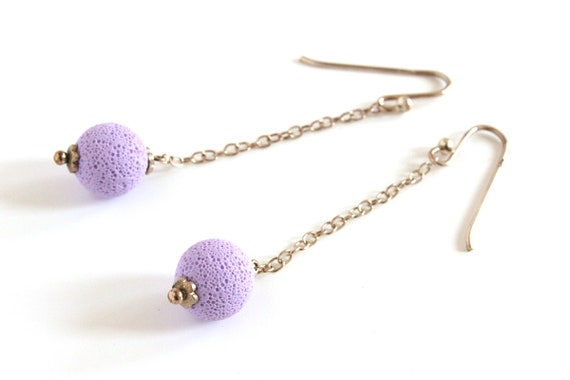 Lilac earrings - sterling silver and polymer clay - pastel purple - textured sphere - statement jewelry - color block jewellery