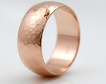 8mm Classic Hammered Wedding Band- 14k gold Wide mens band white, yellow or rose gold