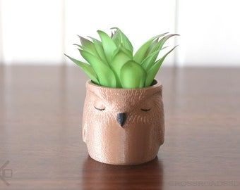 Sleepy Owl Planter, Owl Art, Owl Decor, Succulent Planter, Air Plant Holder