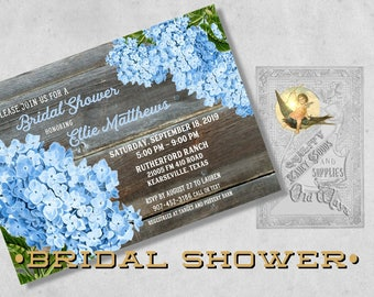Rustic Blue Bridal Shower Invitations - Hydrangeas and Wood - Printed Blue Floral Invitations - Bridal Shower, Bridal Brunch, Couples Shower