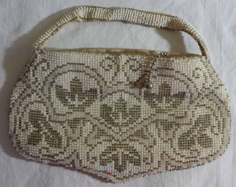 Vintage White & Gold Beaded Evening Finger Purse with Wi Co. Zipper circa 1930's