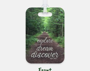 Explore, Dream, Discover Luggage Tag - Customized Address