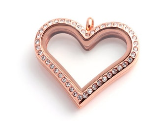 Heart Floating Locket, Rose Gold Glass Living Lockets, Memory Locket, Stainless steel Locket