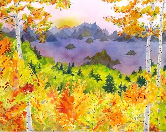 Original Landscape Aspen Forest watercolor painting Rocky Mountains Colorado landscape painting Wall decor Yellow painting lavender 16 x 20