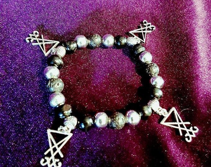Luciferian Bead Bracelets - occult sigil of lucifer bracelet sigil lava stone black skulls