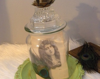 Upcycled Vintage Cloche Glass Dome With Metal Rose Finial and Painted Shabby Chic Base ~ Cottage Terrarium