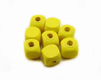 Yellow Wood Beads, Yellow Beads, Cube Wood Beads, 12mm Wooden Beads, Spacer Beads, Jewelry Making, DIY Beads