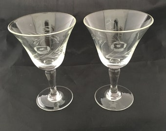 Vintage Etched Cordial Glasses - Floral Etching - Roses - Mid Century Modern Cordial Glasses - Antique Glassware - Aperitif - Set of 2