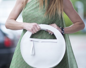 Women clutch, White Genuine Leather Clutch Bag Women, Party Bag, Evening Clutch Bag, White Clutch Bag, Leather Clutch Bag - BA0869LD