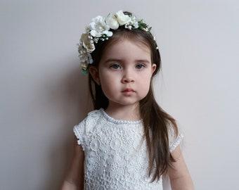 Ivory flower crown,White Cream Floral crown,First communion crown,Wedding flower crown,Flower girl crown,Toddler flower crown