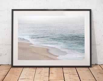 Beachy Wall Art, Abstract Art Print, Coastal Photography, California Beach, Misty Beach, Minimalist Art, Printable Art, Digital Download
