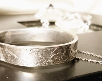 Antique sterling silver bangle, boxed hinged and engraved silver bangle, Victorian