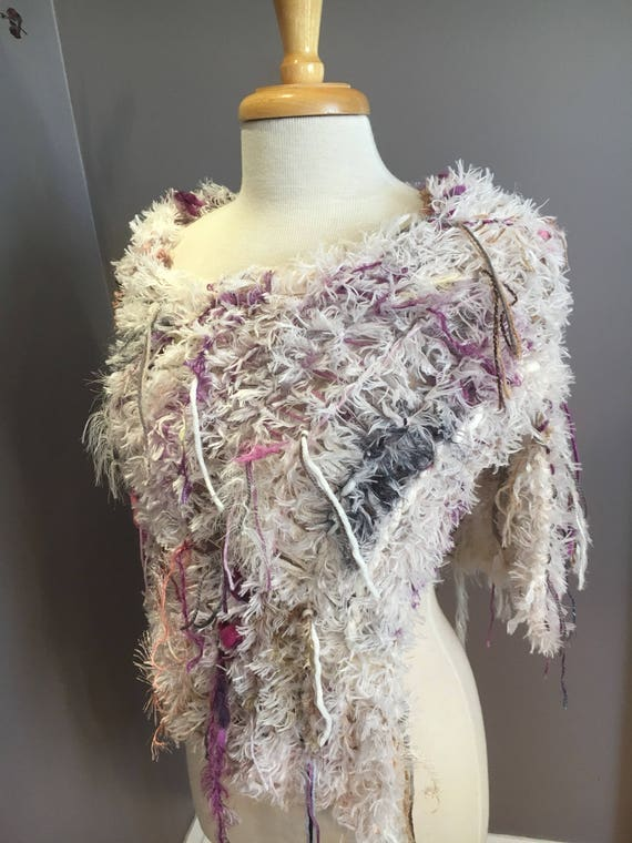 Dumpster Diva Fringed Poncho with cream faux fur base, Fur Cream Knit Poncho, ivory, purple poncho, fur capulet, art wear, boho, gyspy