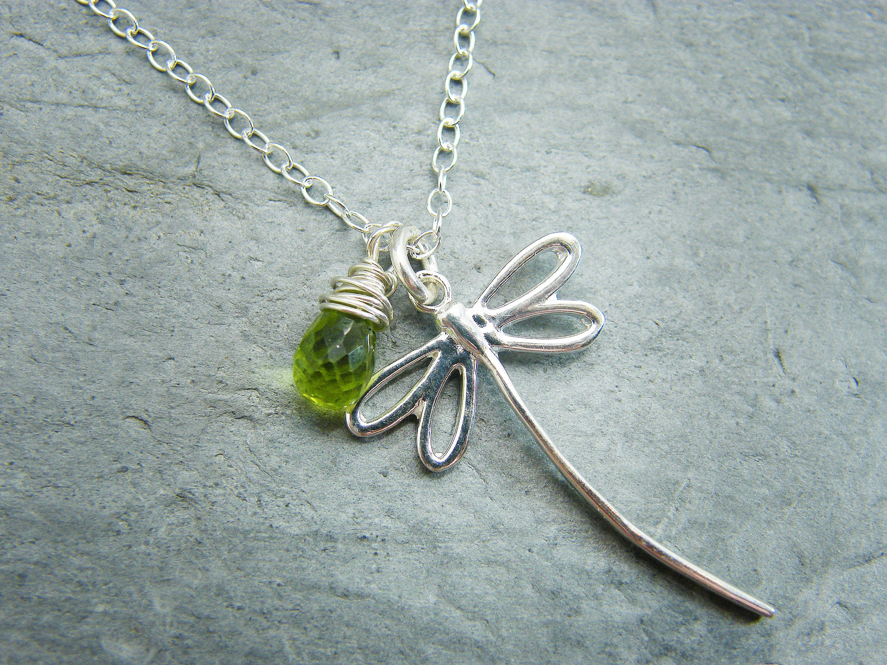 Peridot necklace Jewelry gift for August birthday Peridot
