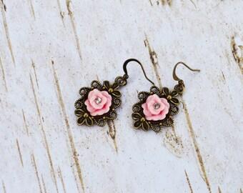 Pink Rose Flower Earrings, Dainty Dangle Earrings, Vintage Earrings, Bridesmaid Gifts, Gift For Her