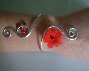 Bracelet red/silver nickle free, aluminum/aluminium p dress bridal/wedding/evening/Cocktail flower/bead (not cheap, small price)