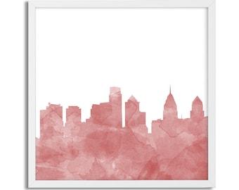 Philadelphia Watercolor Skyline Print, Philly Wall Art, Digital Download, Printable Wall Art, Philly Decor, Philadelphia Skyline