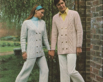 1960's Knitting Pattern | His And Hers | Woman's Knitted Trouser Suit And Man's Knit Jacket | Regency Wool Ltd