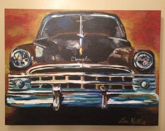 Canvas antique car art print, man cave art from original Chrysler New Yorker Car Painting,  antique rustic colorful car art