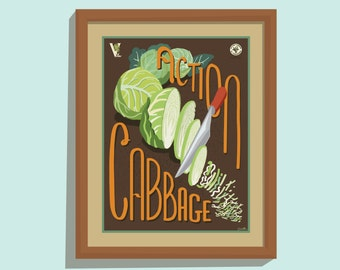Action Cabbage - 11x14 poster