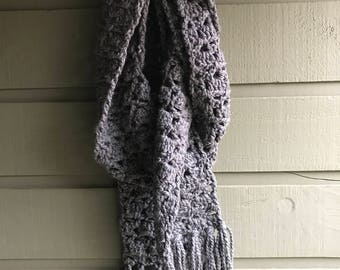 Hand knit scarf {chunky charcoal grey} crochet chunky scarf- squishy autumn scarf- neutral colored scarf
