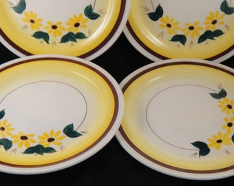 Brown Eyed Susan Pattern by Vernonware Montecito Shape Set of Four Salad Plates (8 plates available)