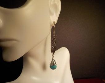 Turquoise Tear Drop Bead Earrings