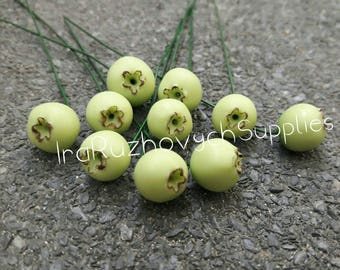 10 pcs. Green blueberry polymer clay beads, decor