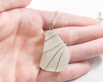 Wire wrapped sea glass necklace / genuine sea glass necklace / authentic sea glass jewelry