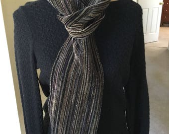 Handwoven Rayon Chenille Scarf - winter blend