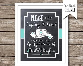 Custom Wedding Hashtag Sign - PRINTABLE Custom Color - Instagram Facebook Hashtag Sign - Wedding Hashtag - Wedding Decor - Wedding Printable