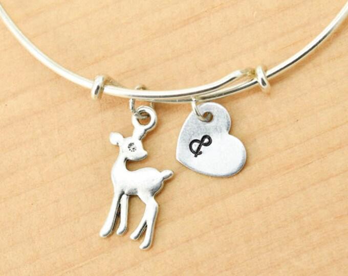Deer Bangle, Sterling Silver Bangle, Deer Bracelet, Bridesmaid Gift, Personalized Bracelet, Charm Bangle, Initial Bracelet, Monogram