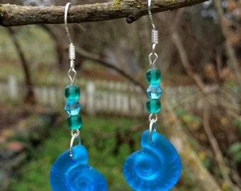 Blue Sea Glass Earrings: Blue Ammonite Shell Earrings