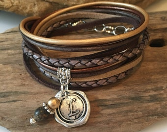 Boho Wrap Bracelet, Braided Leather Bracelet, Brown/Gold/Copper, choose your charm, Gypsy Wrap, Custom, Double wrap, Gift for Her