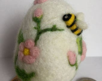 DECORATED EASTER EGG Spring Flower Needle felted 3D Wool Sculpture by Stargazey