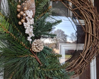 Wreath, Grapevine Wreath, Rustic Wreath, Holiday Wreath