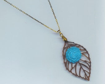 Vintage Turquoise Floral Leaf Pendant . Blue Turquoise . Brass Leaf Leaves . Fine Antiqued chain - Blue Blossom by enchantedbeads on Etsy