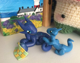 Mammy and Baby Dragons -Blue