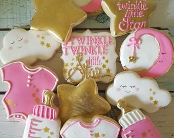 Twinkle Little Star Baby Shower Cookies