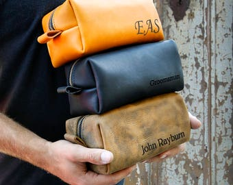 Dopp Kit Bag Groomsmen Gift Leather Toiletry Bag with Monogram Laser Engraved Personalized Mens Toiletry Bag Leather Custom Dopp Kit