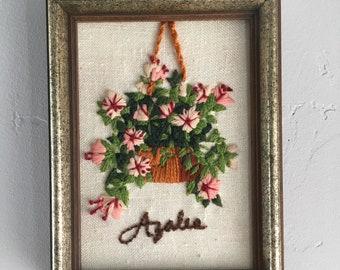 Vintage Azalea Plant Crewel Embroidery Framed Art